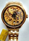 INVICTA 5001 MECHANICAL GOLD PLATED SKELETON WATCH…NEW