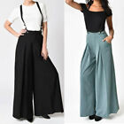 Vintage Lady Strap Two Wear Wide Leg Pants Loose Bib Pant Overalls Trousers 2018