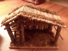 VINTAGE RUSTIC WOODEN NATIVITY CRECHE MANGER STABLE