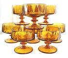 Eight (8) Vintage Amber Footed/Pedestal Glass Sherbet/Dessert Bowls EUC