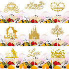 2PCS Glitter Gold Cake Topper Cake Decoration Birthday Wedding Cupcake Toppers