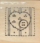 Close To My Heart CTMH DOTS Wood Mounted Rubber Stamp Heart Button Quilt Patch