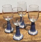Set 4 Beautiful Handcrafted Pottery Wine Glasses or Cordial 5 oz Blue
