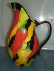 STONELITE CLAY ART PITCHER Hand Painted w Multi Color Chili Peppers