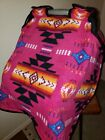 Native American Aztec Navajo Carseat Canopy Cover Set Hot Pink