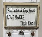 Vintage Shabby Chic Rustic Window Pane Inspirational Quote Decor