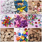 NEW 100pcs Wooden Buttons Different Color Shape Size Sewing Scrapbooking DIY