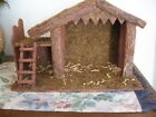 Vintage Nativity Stable Barn Creche Wood Bark Faade 10 Lighted Stable Only