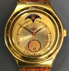 Early Swatch Pre-Irony Gold Tone Moonphase Brown Leather AG 1993
