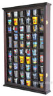 56 Shot Glass Display Case Holder Wall Cabinet Rack Shadow Box CHERRY SC56 CH