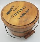 Antique Primitive Wood Cutlet Pail Bucket - Two Lap Bands - Bail Handle