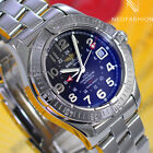 BREITLING COLT GMT SS AUTOMATIC 40MM BEAUTIFUL RARE BLACK DIAL MENS WATCH A32350
