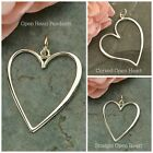 Sterling Silver Large Open Heart Pendants Curved Heart Straight Heart