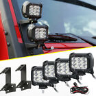 4X TRI ROW 4INCH 90W FLOOD CREE LED LIGHT BAR+MOUNT BRACKET FOR JEEP WRANGLER JK