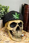 Smoking Skull With Cannabis Weed Leaf Beanie Hat Jewelry Box Figurine Or Ashtray