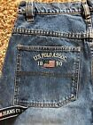 VTG US POLO JEANS CO CLASSIC CARGO JEANS MEDIUM WASH DENIM MENS SZ 30 31