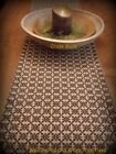 Primitive Country Crossbuck Weave Reproduction Pattern Black/Tan Table Runner 56