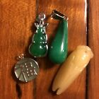 4 Old Vintage Chinese Pendants Charms Asian Jewelry Artwork Jade Glass Stone Lot