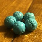 5 Old Carved Turquoise Beads Tibetan Buddhism Charms Prayer DZI Amulets Temple