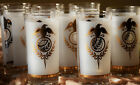 60s VINTAGE FEDERAL GLASSWARE 8 QTY FROSTED 22K GOLD PLATED S-341 AMERICANA SET