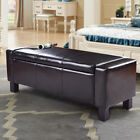 Footstool Ottoman PU Leather Storage Chest Camper Chair Seat Black