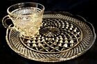 WEXFORD SNACK SET Tea/Coffee Cup and Snack PLATE Diamond Crystal Anchor Hocking