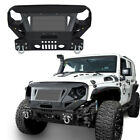 Textured Front Bumper w Grill Guard  D Rings Iron For Jeep Wrangler JK 07 18
