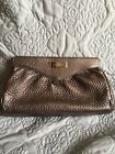 COLE HAAN Tan **REAL** Pebble Leather Clutch and Cosmetic Bag - Women's