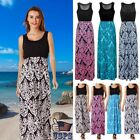 Womens Holiday Sleeveless Ladies Maxi Long Summer Print Beach Dress Plus Size US