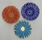 LOT OF 3 SYDENSTRICKER FUSED ART GLASS RUFFLED WAVY EDGE BOWLS SIGNED BLUE RED