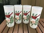 Set Of 3 Vintage WEST VIRGINIA State Bird Cardinal Flower Glasses Tumblers