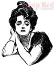 Deep Red Stamps Gibson Girl Portrait Rubber Cling Stamp