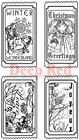 Deep Red Stamps Vintage Holiday Tickets Rubber Cling Stamp