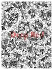 Deep Red Stamps Floral Trumpets Background Rubber Cling Stamp