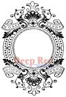 Deep Red Stamps Baroque Frame Rubber Cling Stamp