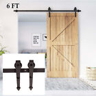 Modern 6 FT Carbon Steel Sliding Barn Wood Door Hardware Track Roller Kit Set HM