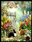 Easter Bunny Rabbits Gates Tree Flowers GLITTERED Easter Greeting Card NEW
