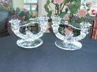 Pair Indiana Glass Double Light Candlesticks Candle Holders Etched