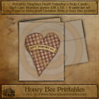 Primitive Vintage Farmhouse Note Cards - Valetine's Day Heart Red Gingham w/ env