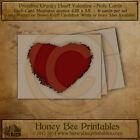 Primitive Vintage Farmhouse Note Cards - Valentines Day Grungy Red Hearts w/env