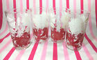 Charming Mid Century Red and White Floral Motif 4pc Glassware Set