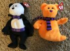 Ty Beanie Count Halloween Bear w Dracula fangs & Shiver Orange Ghost New & MWMT