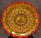 VINTAGE AMBERINA DEPRESSION PRESSED GLASS DISH RED YELLOW CIGAR ASHTRAY 7