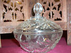 PRESSCUT GLASS ANCHOR HOCKING EAPC ~ STAR OF DAVID PATTERN COVERED CANDY DISH