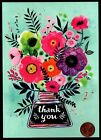 PAPYRUS Fancy Vase Flowers Thank You Leaves Blue Greeting Blank Note Card NEW