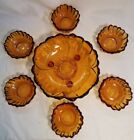 Vintage Indiana Glass Amber Centerpiece Scalloped Footed Berry Bowl Set. 7 Piece