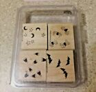 Stampin Up HALLOWEEN BACKGROUNDS Rubber Stamp Set 4 Stamps Stamping Scrap