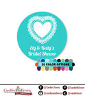 Lace Heart Round Personalized Bridal Shower Wedding Sticker Labels 20 colors