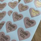30 Heart Thank You Stickers On Glossy Pastel Pink Paper With Gold Lettering