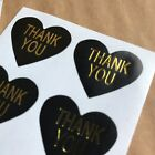 30 Heart Shaped Thank You Stickers On Glossy Black Paper With Gold Lettering